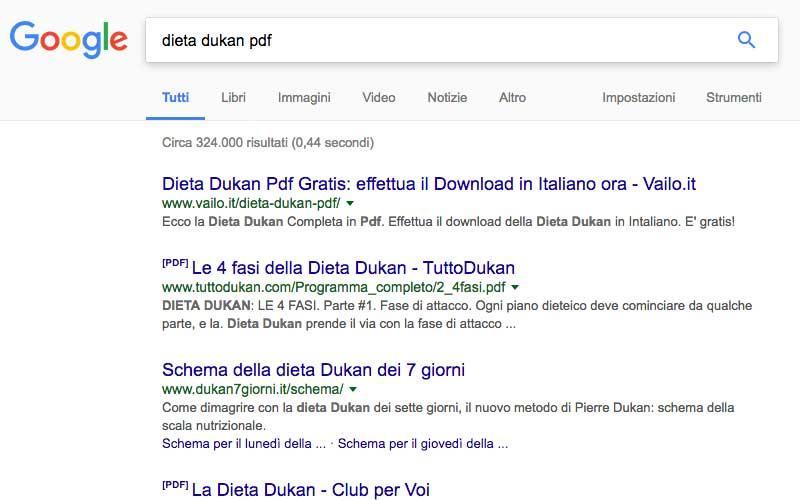 ricerca su Google: risultati