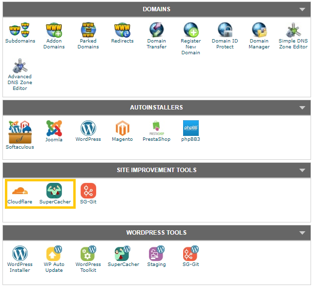cPanel di Siteground.it
