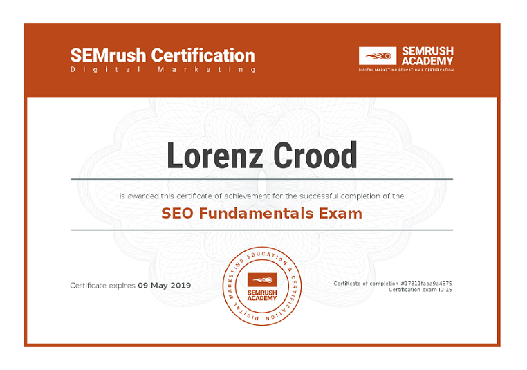 Certificato SEMrush SEO Foundamentals Exam