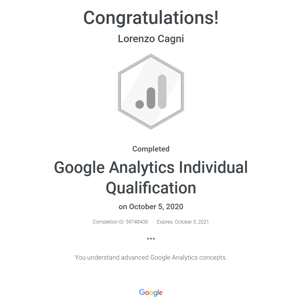 Google Analytics Individual Qualification 2020