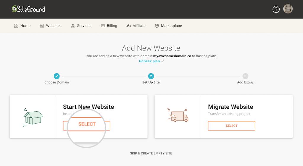 Crea un nuovo sito o trasferiscilo
