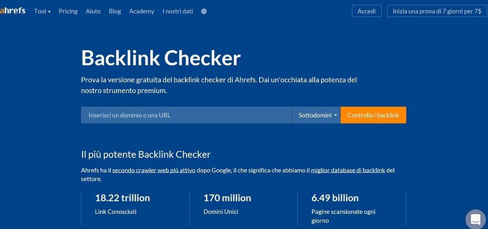 ahrefs tool per i backlink