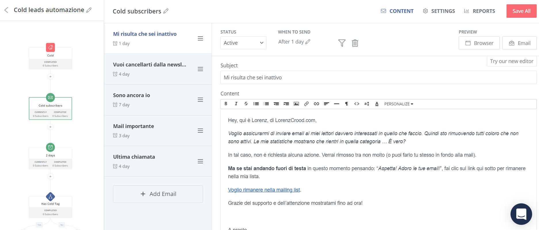 automazione pulizia newsletter