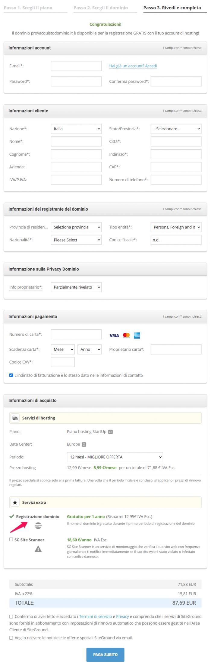come creare un sito web con siteground.it