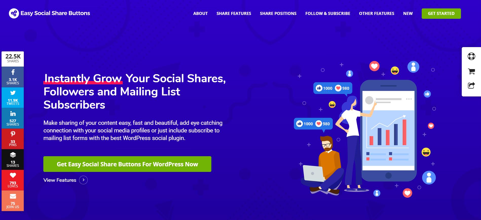 easy social share buttons schermata