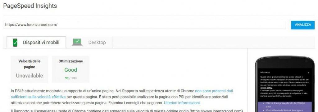 Risultato con Google Pagespeed