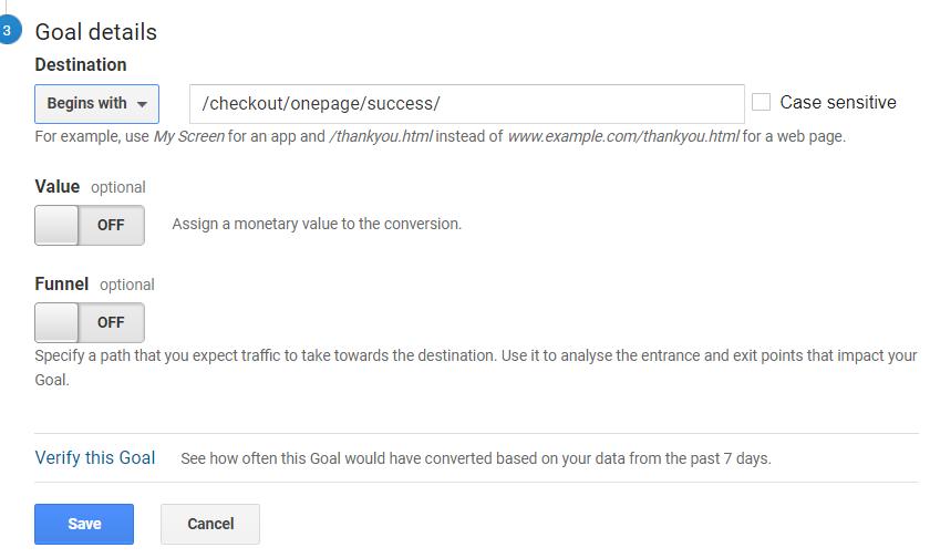 imposta gli obiettivi in google analytics