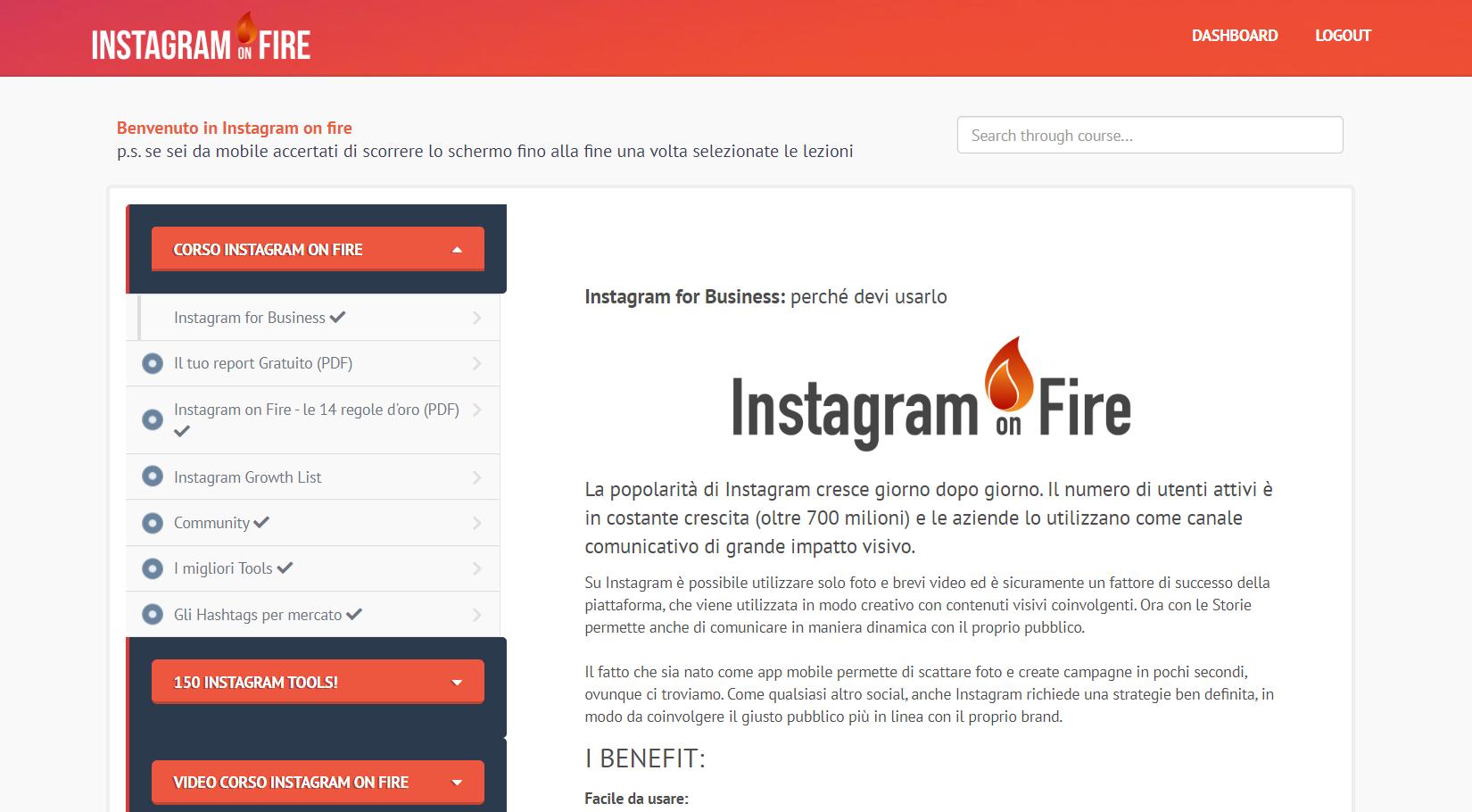 instagram on fire dahsboard