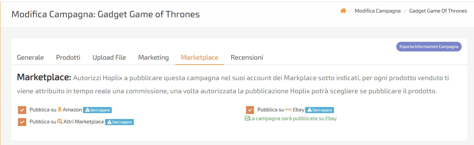 vendi gadget in dropshipping sui vari markeplace tipo amazon e ebay con hoplix