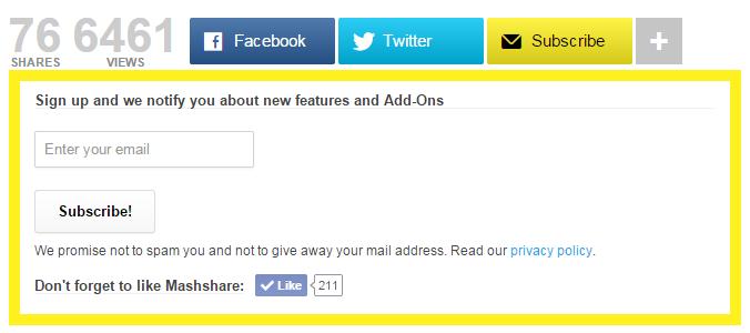 mashare form per newsletter