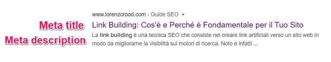 meta description e meta title su google