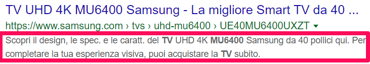 meta description ecommerce esempio