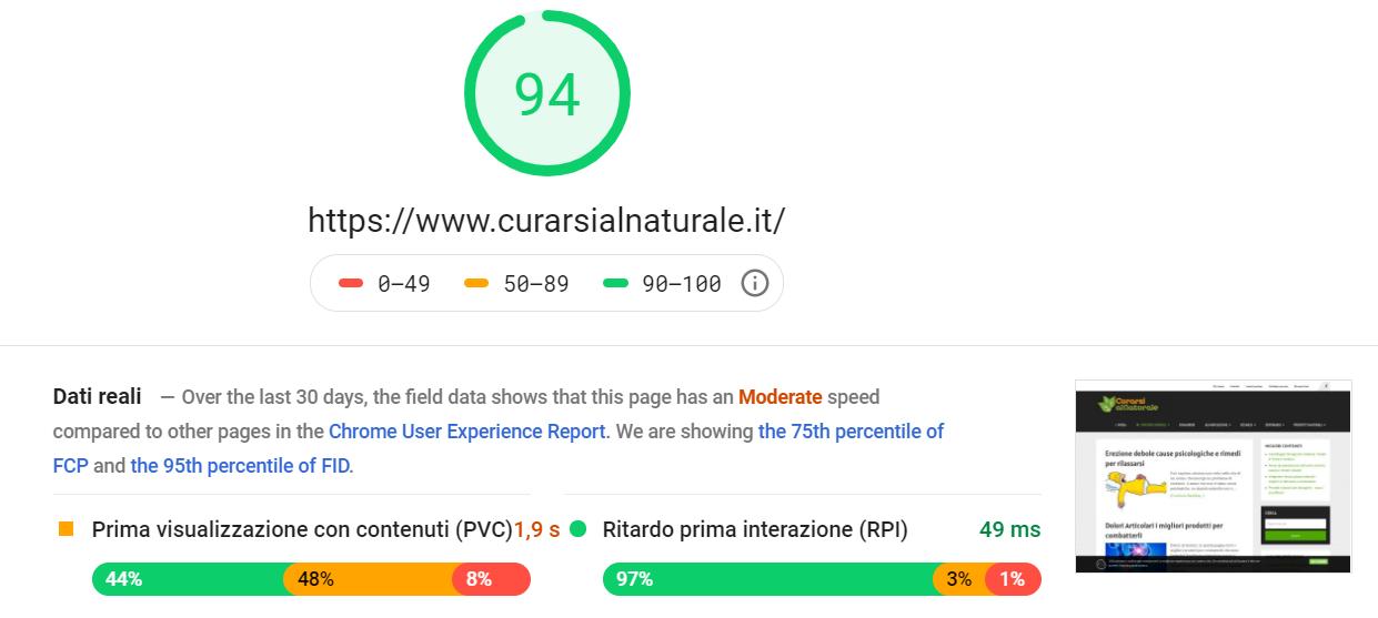 ottimizzazione velocita pagespeed tool