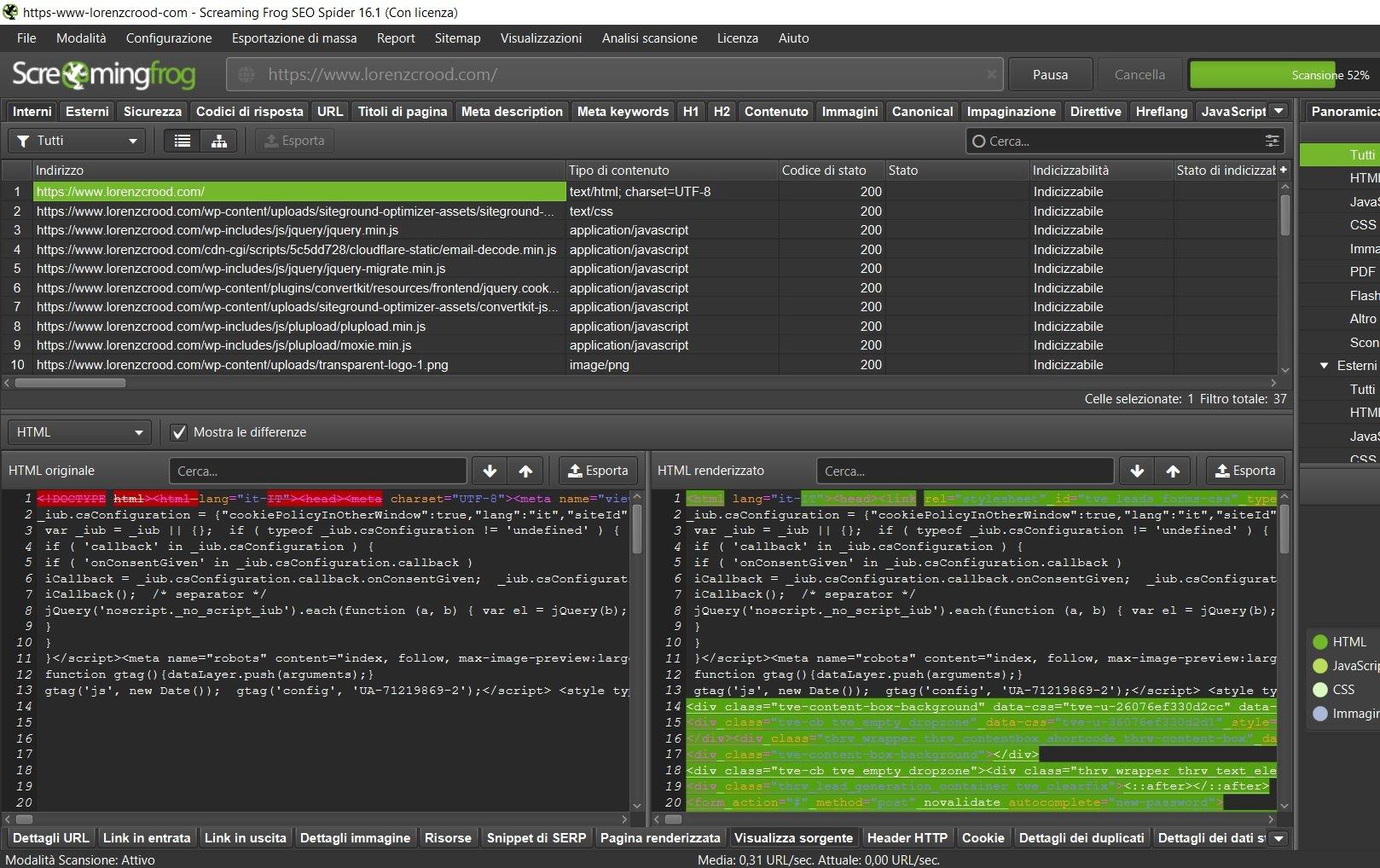 pagina renderizzata codice html