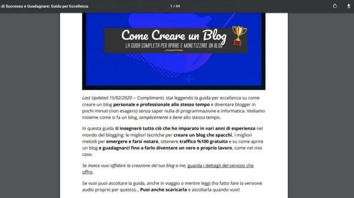 scarica la guida su come creare un blog pdf