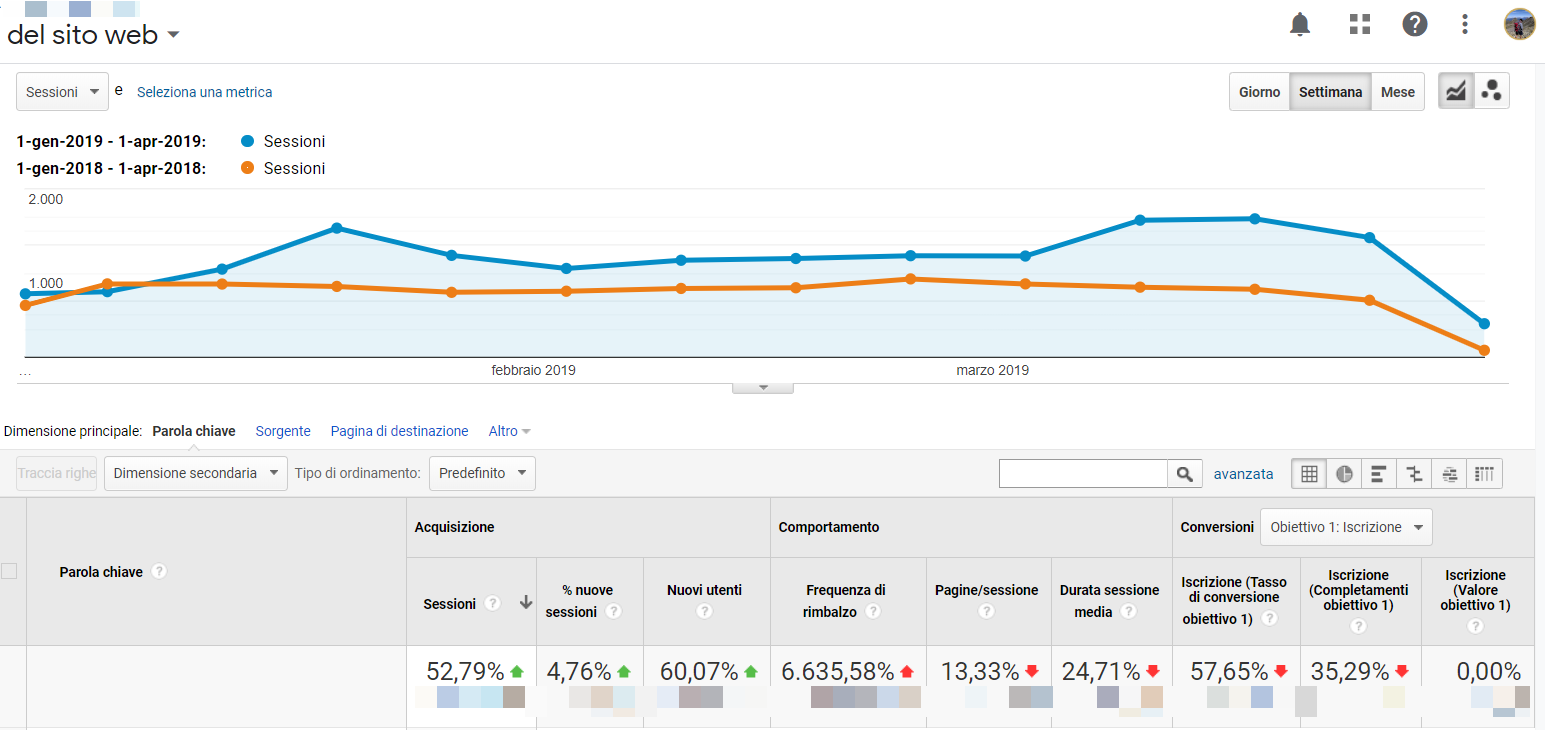 screen google analytics crescita traffico