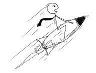 tipo che vola con un razzo
